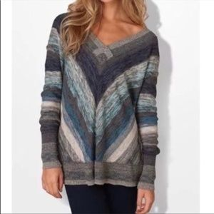 Free People Chevron Stripe Deep V Neck Sweater